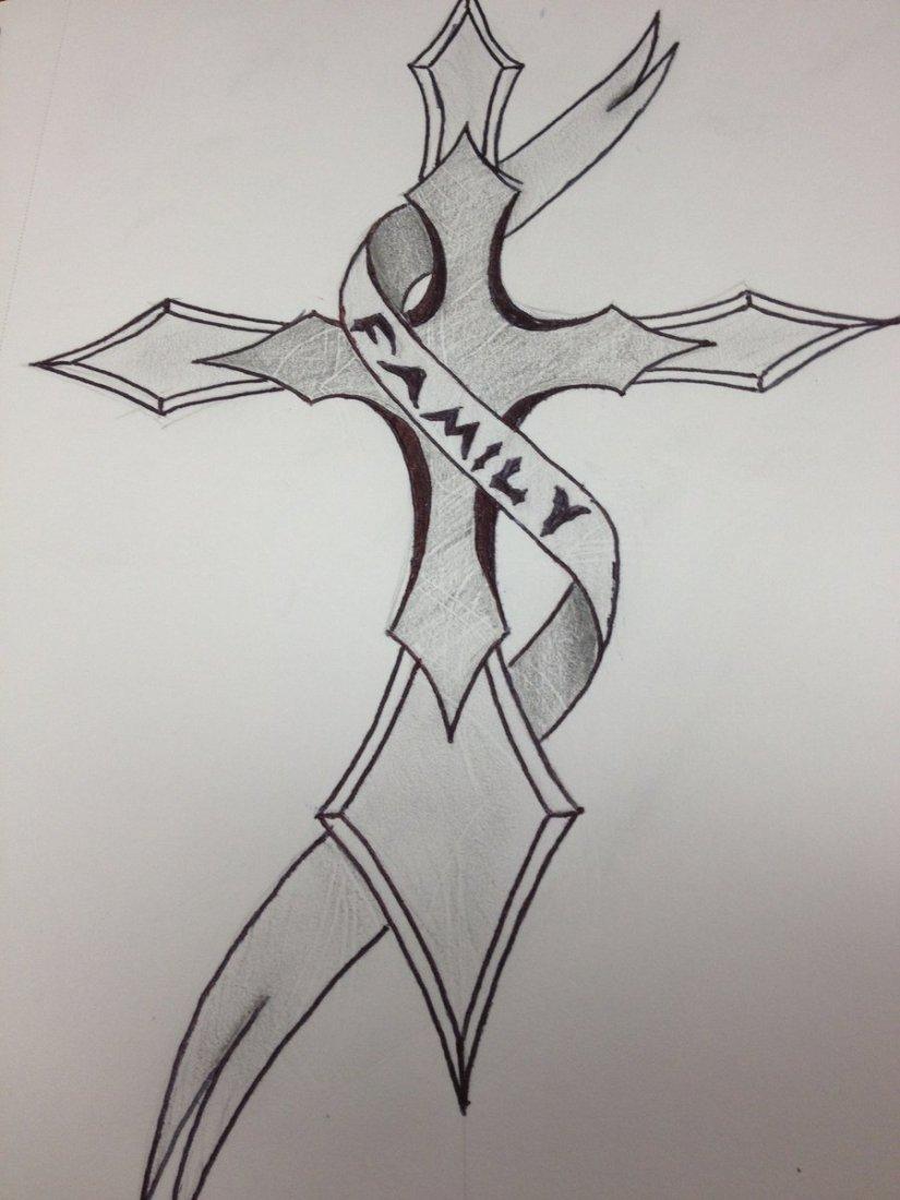 Weird Black Color Ink Family Cross Tattoo Design For Girls