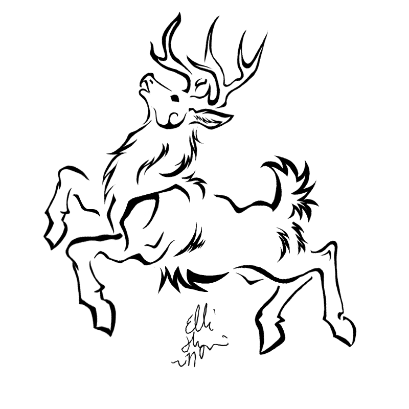 Weird Black Color Ink Jumping Deer Tattoo Sample For Girls