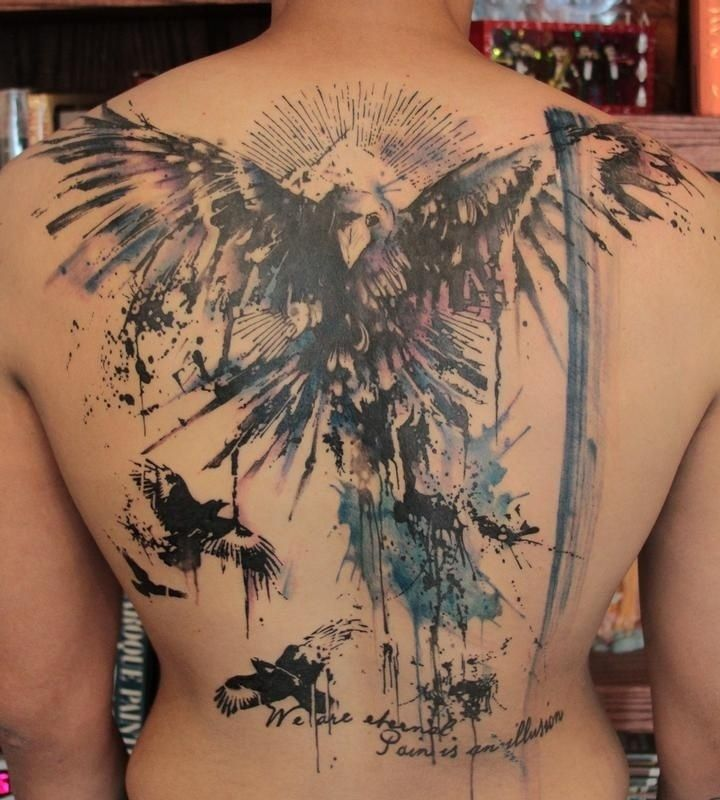 Weird Blue And Black Color Ink Watercolor Crow Tattoos On Back For Boys