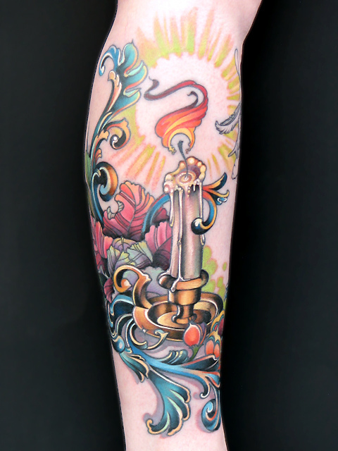 Weird Blue Yellow Black And Red Color Ink Candle Tattoo On Arm For Girls
