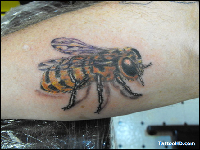Weird Red Black And Yellow Color Ink Arm Bumblebee Tattoo For Girls On Arm