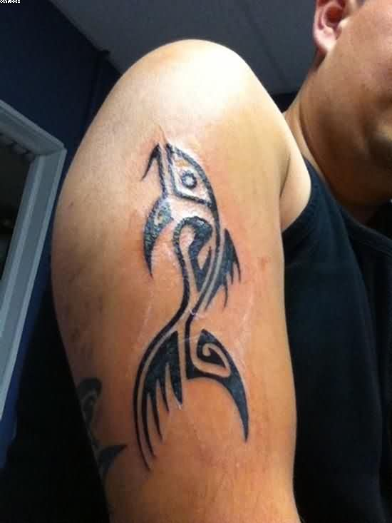 Weird black Color Ink Tribal Aqua Tattoo Design On Biceps For Boys