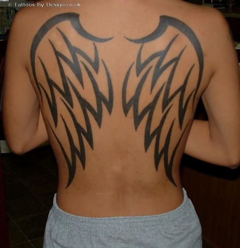 Wing Tattoo Old On Back For Female