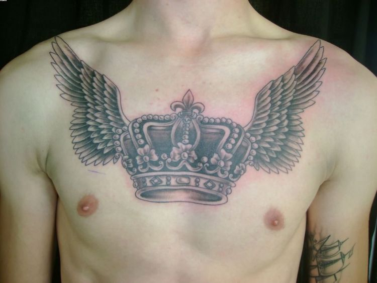 Wings Tattoo On Chest For Guys With Crown