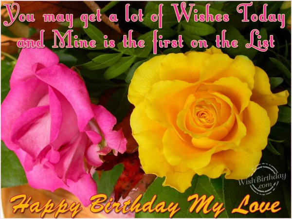 Wishes You A Very Happy Birthday My Love Greeting Image