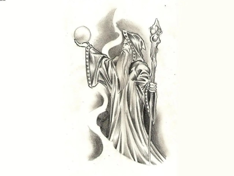 Wizard And His Magic Ball Tattoo Design For Female