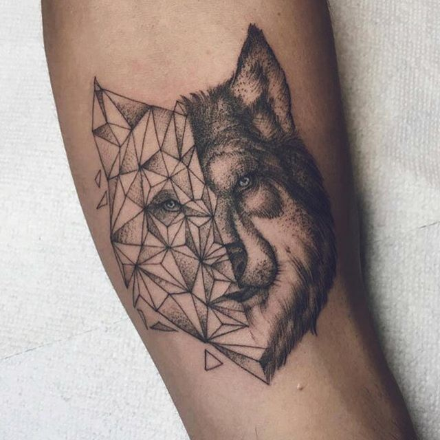Wolf Tattoo With Triangle For Male