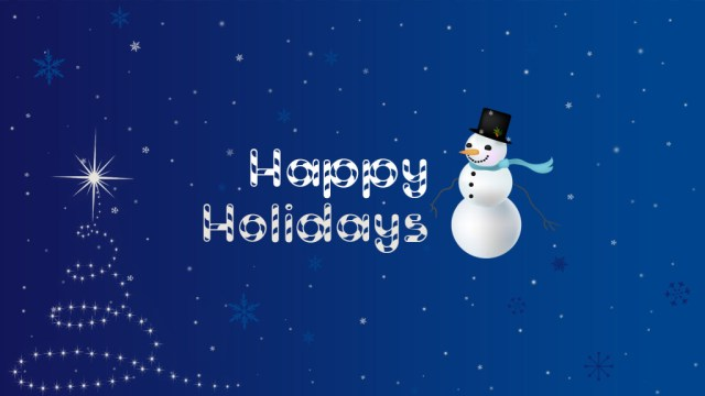 Wonderful Blue Color Happy Holiday Wishes Wallpaper