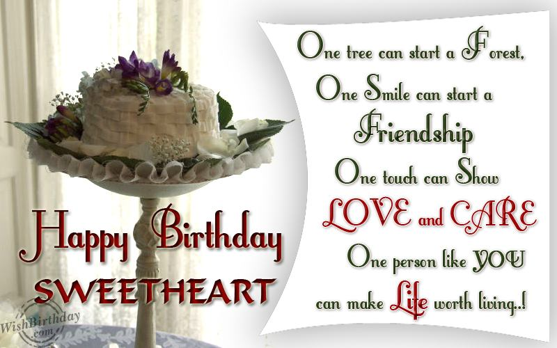 Wonderful Happy Birthday Sweetheart Love You Greeting Image With Quotes