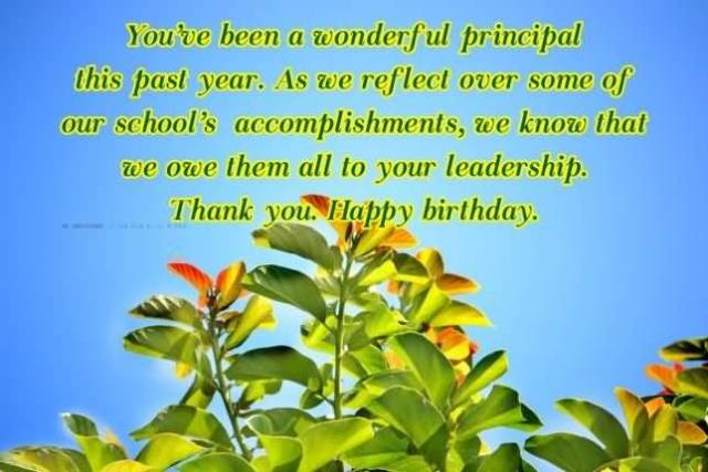 You've Been A Wonderful Principal This Past Year Thanks You Happy Birthday Message Image