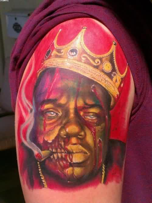 Zombie King Tattoo On Shoulder