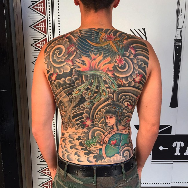 lovely back tattoo with black ink for man and woman