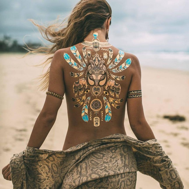 most attractive back tattoo with colorful ink for man and woman