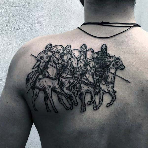 most traditional horse riding warriors means seven horsemen upper back woodcut with black ink for man and woman