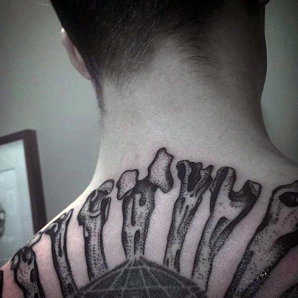 traditional means upper back dot wok tattoo of bones with black ink for man and woman