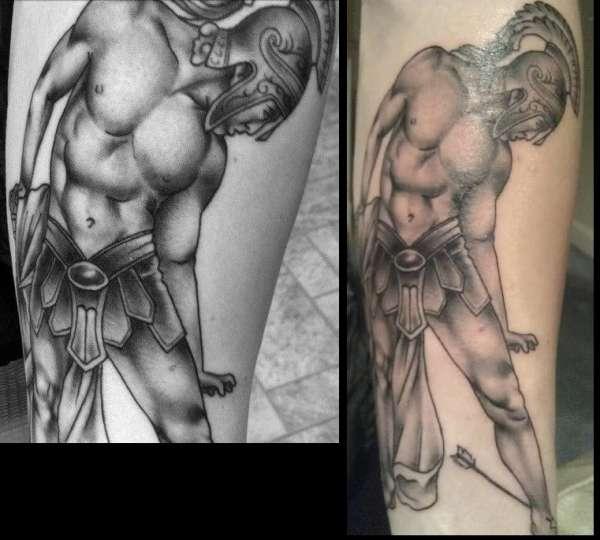 Adorable Achilles Greek Warrior Tattoo Design For Girls