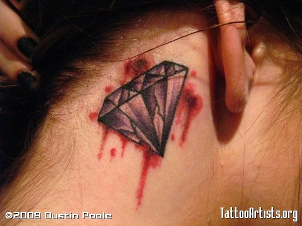 Adorable Bleeding Diamond Tattoo Behind Ear For Girls