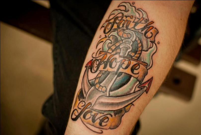 Adorable Faith Hope Love Anchor Tattoo On Arm For Girls