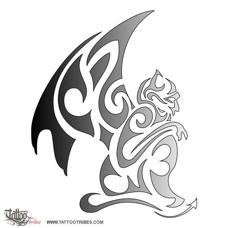 Adorable Tribal Gargoyle Tattoo Design For Boys