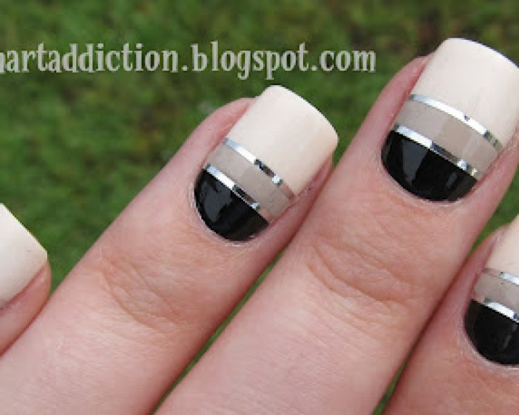 Amazing Black And Beige Nail Art With White Paint And Silver Coting