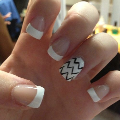 Amazing Black And White Nails With White Tips