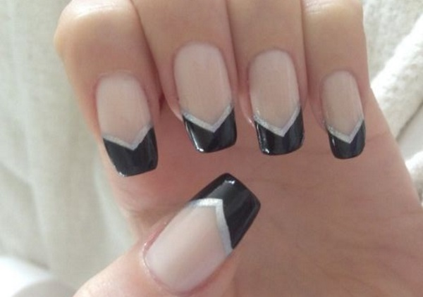 Amazing Black French Tip Nails With V Shaped Design