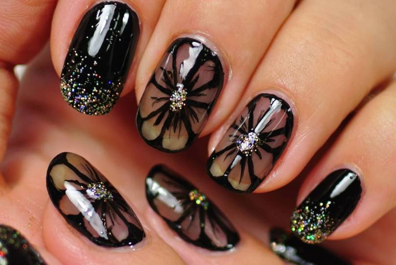 Amazing Black Nail Art Design With Brown Color Flower