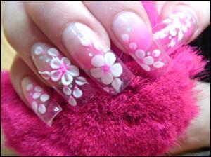 Amazing Flower With Leaves 3D Acrylic Nail Art