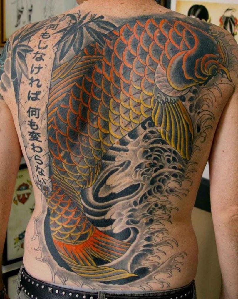 Amazing Full Back Japanese Koi Fish Tattoo Design For Boys