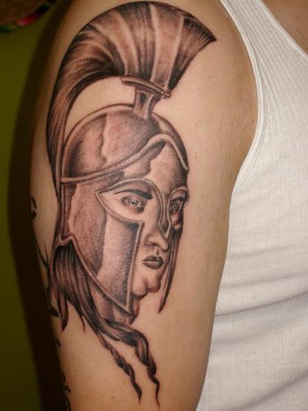 Amazing Greek God Face Tattoo On Biceps For Boys