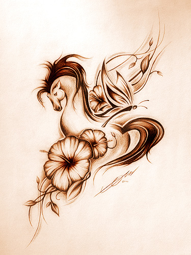 Amazing Horse n Flowers Tattoo Design For Boys