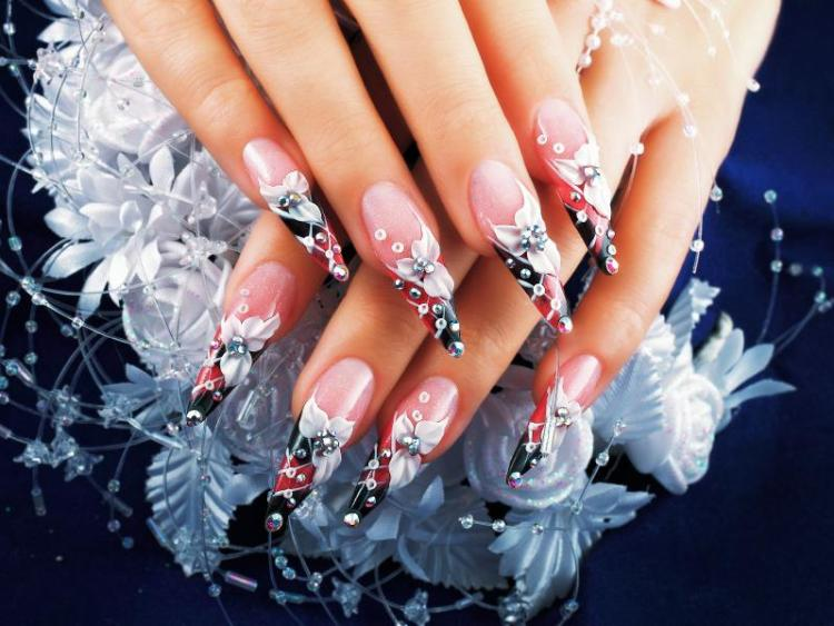 Amazing Lining Design Of Nail 3D Rose Flower Nail Art