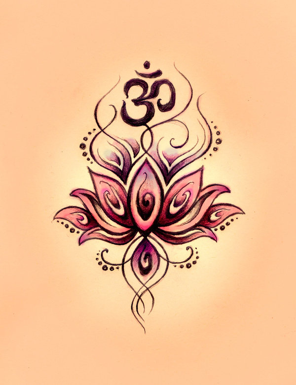 Amazing Om Symbol n Lotus Tattoo Design For Boys