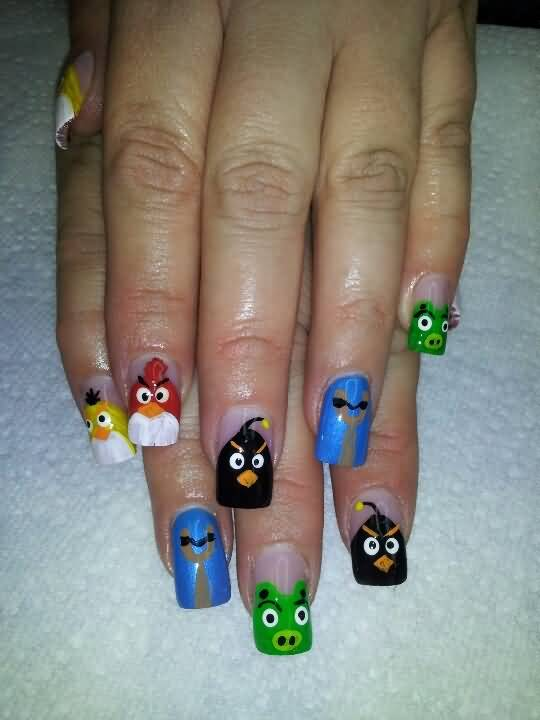 Amazing Pig And Angry Bird Nail Art Design