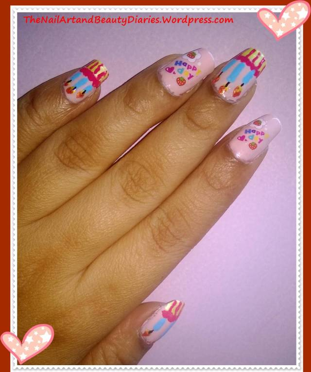 Amazing Pink Nail Paint With Happy Birthday Nail Art