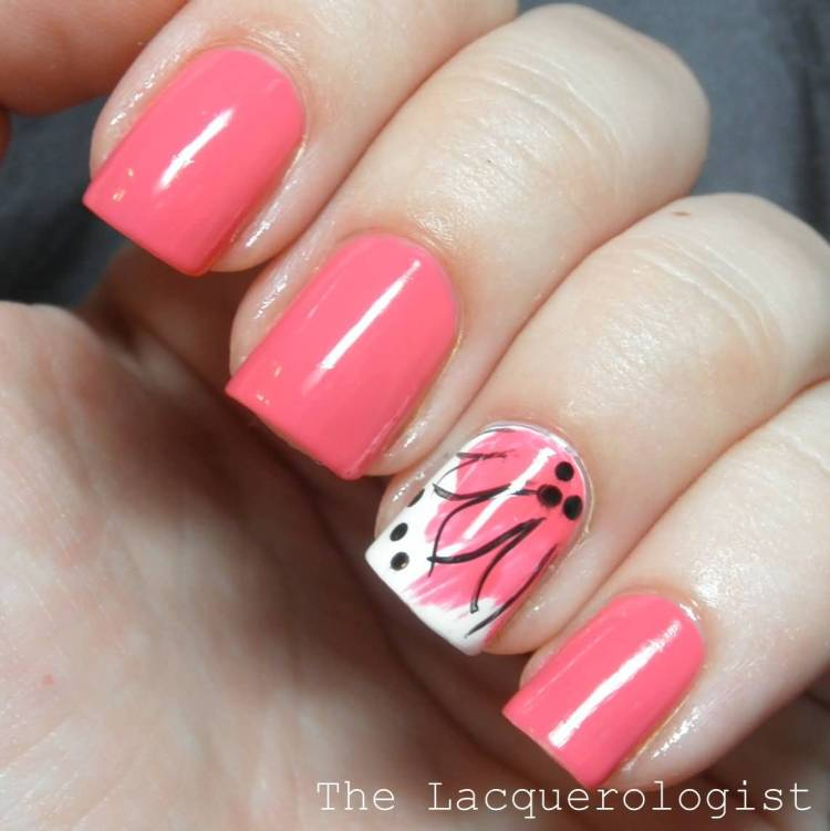 Amazing Pink Nail Paint With Pink Flower Accent Nail Art
