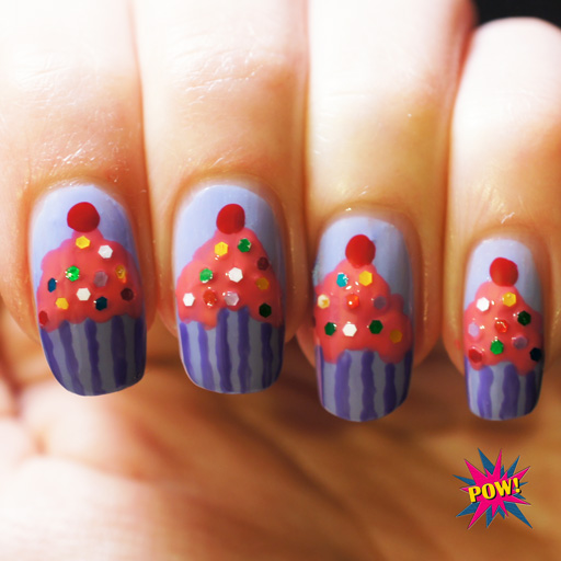 Amazing Purple Nail Paint With ice Cream Con Birthday Nail Art