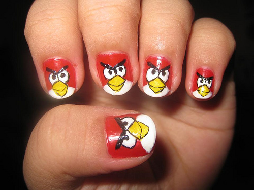 Amazing Red Color Angry Bird Nail Art Design