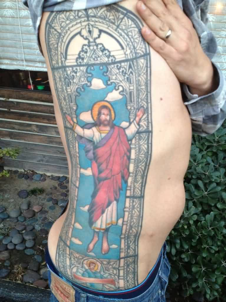 Amazing Stained Glass Jesus Tattoo On Ribs For Boys