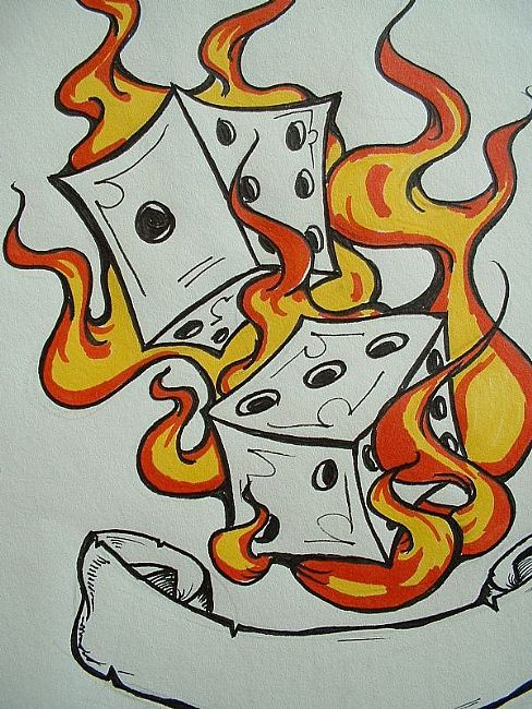 Attractive Flaming Dice Tattoo Sample For Girls