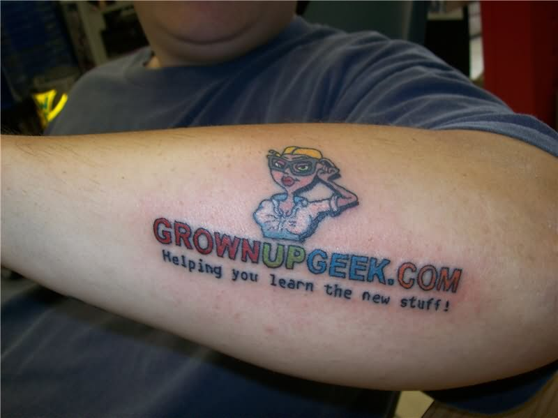 Attractive Geek Grown Up Tattoo Design On Arm For Boys