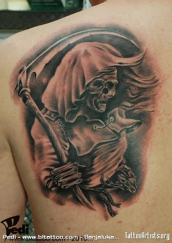Attractive Grim Reaper Tattoo On Back Of Shoulder For Boys