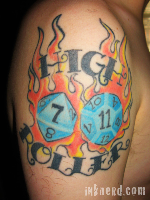 Attractive High Roller Gambling Tattoo On Right Shoulder For Boys