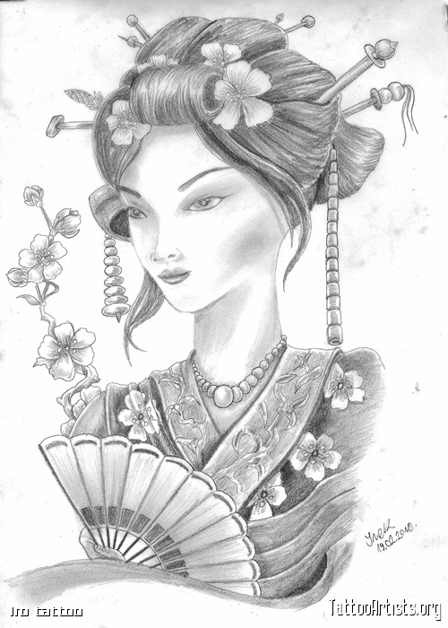 Attractive Japanese Geisha Tattoo Drawing For Girls