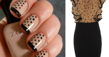 Awesome Black And Beige Nal Art With Dotted Design