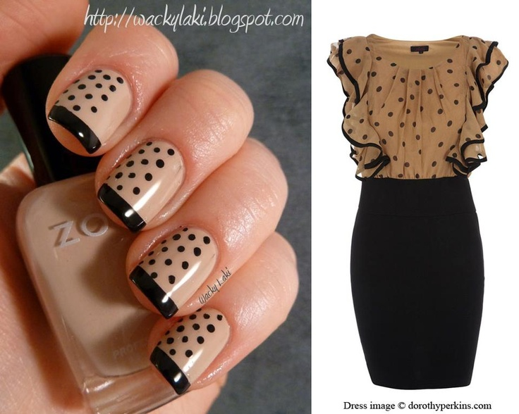 Awesome Black And Beige Nail Art With Dotted Design