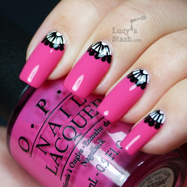 Awesome Black Half Moon Nail With Pink Nail