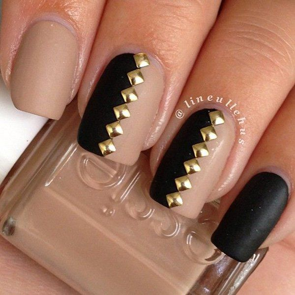 Awesome Black Nail Art Design With Golden Button