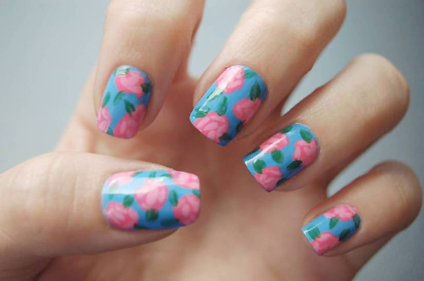 Awesome Blue Nail With Pink Rose