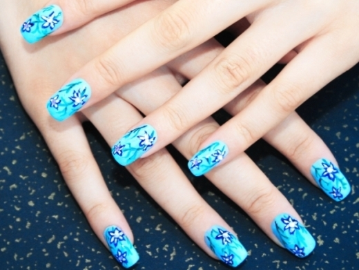 Awesome Blue Nails With Cutest Flower Design
